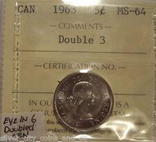 Elizabeth II 1963 Doubled 3 & CEN; Eye in 6 Five Cents - ICCS MS-64 (XCM-795)
