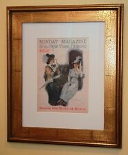 Original 1911 Frank Snapp Framed Print Art/ Fashionable Girl on Train