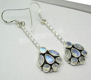 925 Silver Dangle Earrings RAINBOW MOONSTONES & Other Choice Gemstones Variation