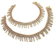Diamante Gold Metal Chain Handmade Anklet Bracelet Pair Washions Fashion Jewelry