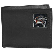 columbus blue jackets logo nhl ice hockey leather bi-fold wallet usa made