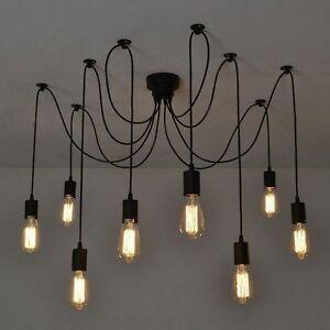 Lampe De Plafond Vintage Suspendue Rétro 8 Bras Lustre Salle à Manger Hôtel