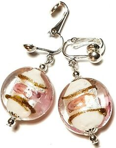 Large Silver Pink Clip-On Earrings Glass Beads Drop Dangle Retro Statement Boho
