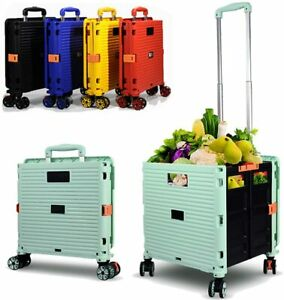 4 Wheels Foldable Shopping Wheel Trolley Cart Grocery Folding Market Moving Box
