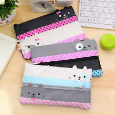 Cat Cute Kid Stationary Pencil Case Makeup Coin Pouch Zipper Cosmetic Bag Purse#