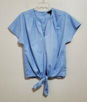 NEW J Crew Women's Tie Front Button Back Short Sleeve Shirt Top Blouse Size XS