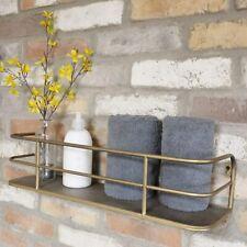 Dutch Imports Industrial Gold Bathroom Wall Shelving Wooden Shelf Storage Displa