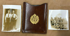 WW2  WAAF MIRROR IN LEATHER CASE WITH EMBOSSED RAF BADGE+ PHOTOGRAPHS .