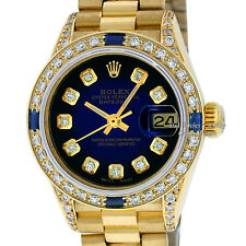 Rolex Ladies Datejust President 18K Yellow Gold Blue Vignette Diamond Watch