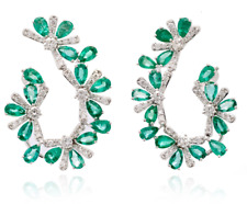 3 Ct Pear Green Emerald & Sim Diamond Silver Hoop Earring 14K White Gold Plated