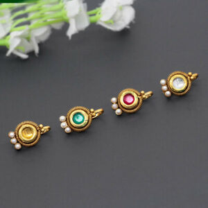 Indian Gold Plated Multi Color Kundan Nose Pin Combo Of 4 Pieces