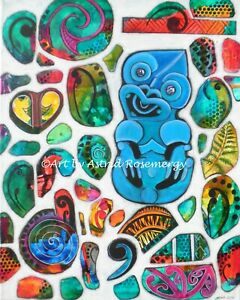 Tiki Koru Silver Fern Maori NZ Pacifika - Original Carving Painting by Astrid