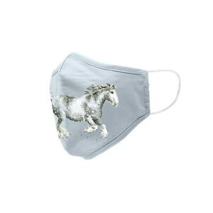 New Wrendale Designs Cotton Adult Face Mask - Dapple Grey Horse - UK Made