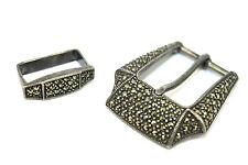 Sterling Silver Marcasite Belt Buckle Vintage Art Deco Modernist Judith Jack