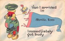 """""""I Got Immediately Busy"""" in Moville Iowa~Boy Watches Girl~1912 Pennant Postcard"""