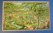 Old c.1900 Antique French Game PRINT - Dans Le Foret - FOREST - TREES