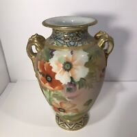 "Antique Nippon Hand Painted Floral 10"" Vase with Handles Moriage Gilded"