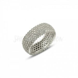 RHODIUM PLATED 925 SILVER - 5 ROW 1mm MICRO PAVE CUBIC ZIRCONIA ETERNITY RING