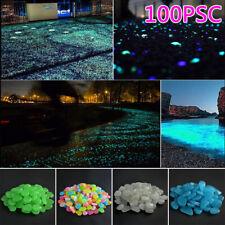 100pcs Glow In The Dark Stones Pebbles Fish Tank Aquarium Garden Road Rock Decor