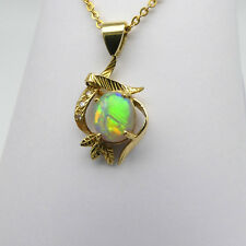 JEWELLERY, SOLID 18 CARAT GOLD PENDANT WITH SOLID WHITE OPAL AND DIAMONDS 8715
