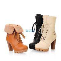 Retro Women's Winter Warm Ankle Boots Lace Up Block High Heel Shoes Plus Size Sz