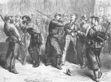 FRANCE. Paris Commune. press gang for Commune Army, antique print, 1871