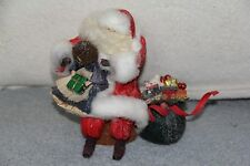 Nan's Santa Claus Doll Corn Husk Litlle Girl on His Knee With Bag of Presents