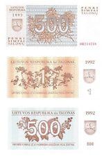 Lithuania 1 + 500 + 500 Talonas 1992-93 Set of 3 Banknotes 3 PCS UNC
