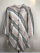 EAST Women's Striped Multi Color Split Linen Blouse Shirt Size 12 UK