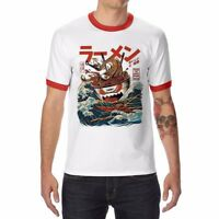 Japan The Great Ramen off Kanagawa Ringer funny gym T-shirts Men's Short Sleeve