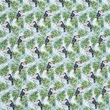 Black Toucan Birds on White Cotton Lawn Fabric - Green Tropical Palm Trees by The Metre (buy More for Continuous)