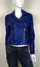 Gerry Weber Jacket Motorcycle Faux Leather Epaulets 2 Pockets Lined Blue Size 10