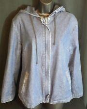 Women's Denim & Co Jeanswear Size Med. Hooded Jean Jacket Zip-Up Lined.