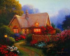 "Sergon ""Bougainvillea Cottage"" serig canvas flower garden cottage Kinkade style"
