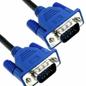 10m Black Monitor to PC LSZH Cable SVGA 15 Pin Plug to Plug Blue Hoods 10 metre