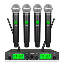 Wireless Microphone System Pro Audio Uhf 4 Channel 4 Handheld Dynamic Mic Karaok