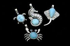Larimar 4 Pendents Marine Life Premium Jewelry .925 Sterling Silver (Wholesale)