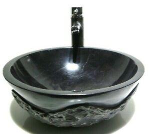 MARBLE STONE Black RUSTIC ROUGH LUXURY ROUND basin sink wash bowl Bathroom 42cm