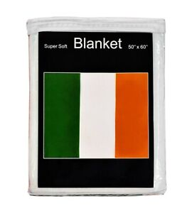 Ireland Flag Fleece Blanket NEW 5 ft x 4.2 ft Irish Tricolour Travel Throw Cover