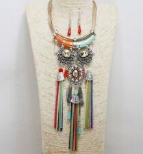 Multi Colored Chain Tassel FASHION Necklace Set