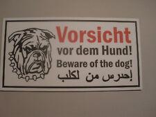 Schild Vorsicht vor dem Hund in  deutsch englisch und arabisch 240x125mm