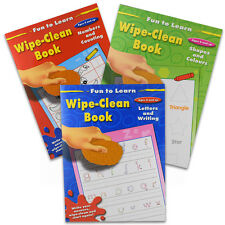 Wipe Clean Books x 3 - Learn Numbers Letters Colours Shapes Writing   Ages 4 - 8