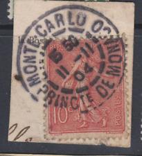 RARE CACHET MONTE CARLO MONACO SUR SEMEUSE 10c FRANCE 11 NOVEMBRE 1904  FRAGMENT