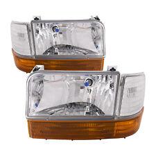 92-96 Ford F150/F250/Bronco Euro Chrome Headlights 6 Piece Set W/Xenons