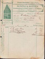 BREMEN, Rechnung 1909, Farben- & Chemikalien-Grosshandel Suding & Soeken