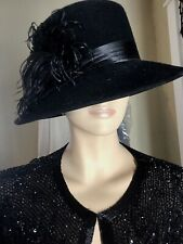 Ladies Vintage 1930's Black Wide Brim Hat With Satin And Feathers