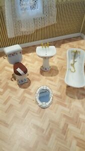 DOLLS HOUSE LUXURY VICTORIAN  FOUR PIECE BATHROOM SET