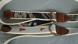 Polo ralph lauren D O ring cotton belt leather fabric lot of 2 Large 40/42