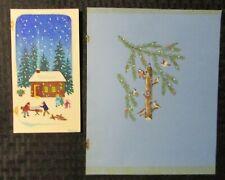 MERRY CHRISTMAS Happy New Year Birds Snow 3x6 Greeting Card Art LOT of 3 #15B E4