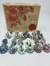 Vtg lot Metal Christmas Tree Clip Candle Holders w/Standard Oil Holiday Wax Box